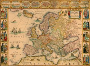 Historic map of Europe by Willem Blaeu, 1630