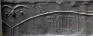 "Cylinder seal depicting Inanna as an ""eye-goddess"""